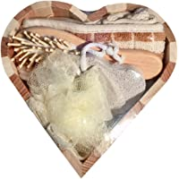 Geschenkset Badezimmer, Sauna,5 teilig, blau/braun Set Holz Herz 19x19x5cm Luffaschwamm, Bürste, Schwamm, Stein Saunaset Geschenkset Badeset