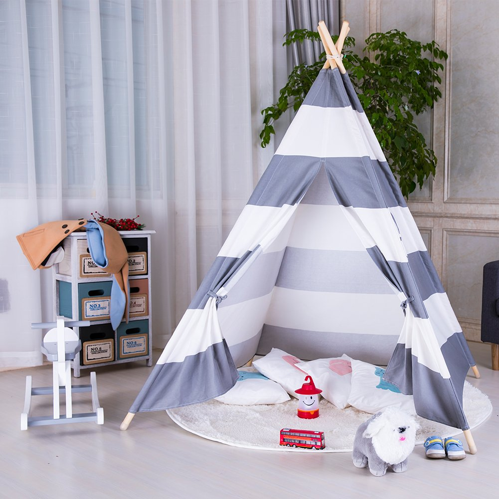 100/% Cotton Canvas Princess Girls Tent for Indoor and Outdoor Triclicks Kids Teepee Play Tent Indian Children Play House Black Stripe