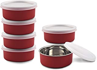 Kinship Microwave Safe Stainless Steel Small Lunch CONTAINERS for Office/Home - Set of 6 (RED, 6 x 11 cm, 6 x 300 ML Approx.)