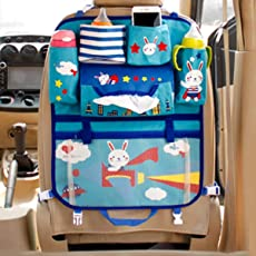 CONNECTWIDE Premium Car Backseat organizer for Baby and Kids Travel accessories, Thermal Storage Bottles, Pockets, Tissue Box, Toys, Garbage Bag, Universal Use Car Backseat organizer for Baby and Kids Travel accessories, Thermal Storage Bottles, Pockets, Tissue Box, Toys, Garbage Bag, Variety Designs. (Navy Blue)