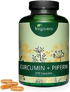 CURCUMA e PIPERINA Vegavero® | 270 capsule | Con 95% di Curcumina e Piperina | Antinfiammatorio naturale* | Vegan