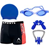 Wetex Premium Boy's Swimming Kit with 1 Shorts Trunk, 1 Anti Fog Swimming Goggles 1 Silicone Swimming Cap 1 Nose Clip 2 Ear P