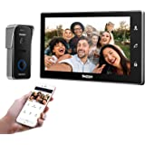 TMEZON Wifi-video-deurintercomsysteem, deurbel, intercomsysteem, 10 inch wifi-monitor met bekabelde camera buitenshuis (1M1C)
