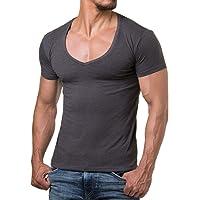Re Rock - T-Shirt per Uomo con Scollo a V - vestibilità Slim in Tinta Unita - Taglia dalla S alla 3XL - 12 Colori
