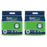 """KareMed Adult Diaper Pants for Incontinence, Medium, Waist Size 75-100 cm (30""""-40"""")-Pack of 2 (20 Count), white, m"""