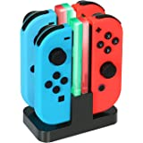 KINGTOP 4 en 1 Chargeur Nintendo Switch Manettes Joy-Con Charging Dock avec Indicateur LED