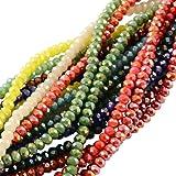 PandaHall 1400PCS Perline Vetro Colorate Giada Imitazione Sfaccettate Placcate per Braccialetti collane Gioielli Abaco AB Col