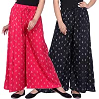 LCUPR Stylish Unique Women Ragular Fit Rayon Printed Palazzos (Pack of 2)