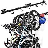 Support Mural de Rangement pour Vélos, Range-vélos Support de Vélo Amovible et Assemblage Flexible pour 5 Vélos, Système de R