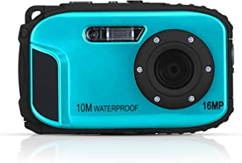 Stoga 2,7 Zoll LCD-Kameras 16MP Digitalkamera Unterwasser 10m wasserdichte Kamera + 8x Zoom-Blau