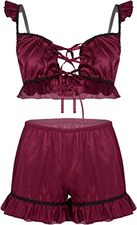 CHICTRY Mens Sissy Lingerie Set Shiny Satin Ruffled Bra Tops with Shorts Panties Nightwear Underwear