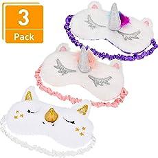3 Stücke Einhorn Schlafmaske Einhorn Horn Augenabdeckung Weichem Plüsch Augenbinde für Bett Flug Auto Camping Verwenden