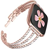 Ownaco Compatible for Fitbit Versa 2 Strap,Women Bling Crystal Watchband Rose Gold Stainless Steel Three-line Style Replaceme