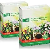 COM-FOUR® 2x 1kg meststof voor balkonplanten, plantenvoeding voor alle balkon- en kuipplanten, gemaakt van biologische gronds