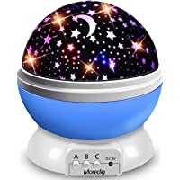 Moredig Star Projector Night Light, Baby Night Light Rotation LED Night Light Lamp with 8 Colorfull Lights for Baby Nursery Bedroom Decorate - Blue