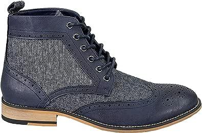 Scarponcini Stivali Scarpe Uomo alla Caviglia Maglia Lana Eleganti Vintage Boots