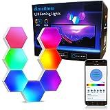Sechseck Wandleuchte Funktioniert mit Alexa Google Assistant,WiFi Smart RGB Gaming Wandleuchte LED Leuchtpanel Sprachsteuerun
