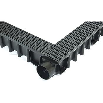 4m Entw/ässerungsrinne Terrassenrinne Stegrost Kunststoff komplett SET Schwarz Line NEUHEIT Rinne mit integrierter Dichtung Klick System System A15 70mm