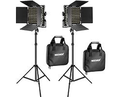 Neewer 2 Pack Bi-Color 660 LED de Luz de Vídeo y Kit de Soporte Incluye: (2) 3200-5600K CRI 96 + Regulable Luz con Soporte en