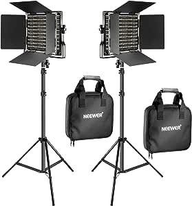 Neewer 2 Stücke Bi-Farbe 660 LED Video Lichtstand Kit: (2) 3200k-5600K CRI 96+ Dimmabre Licht mit U Halterung und Scheunentor (2) 78,7 Zoll Lichtstand für Studio Fotografie