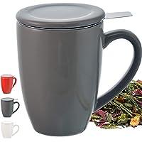GROSCHE Kassel - tasse à thé en céramique avec l'acier inoxydable infuseur, 330ml/11,2 oz, Gris