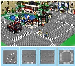 Modbrix 4pezzi City Strada Piastra Piastra Di Base piastre strada Set 32X 32Bottoncini Piastra di costruzione Platten, 25.5x 25.5cm, dritto/Incrocio stradale/curva/T–Incrocio
