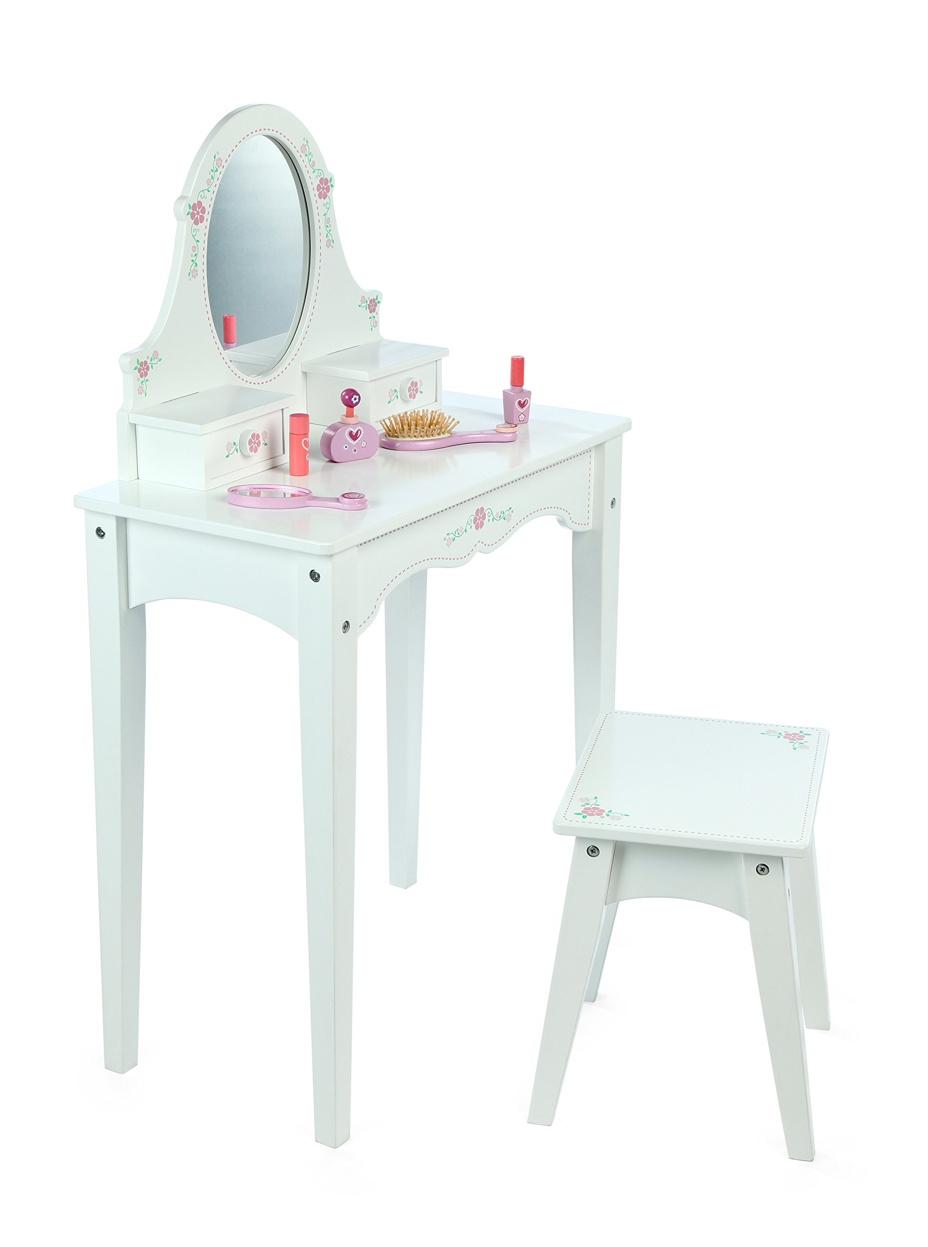 Dressing Table With Mirror And Stool: Tidlo Wooden Dressing Table With Stool, Mirror & Storage