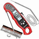 NIXIUKOL Termometro Cucina Digitale Lettura Istantanea Termometro Barbecue con 2 Acciaio Inossidabile Sonda, Display LCD con