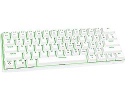 FUHLEN G610 Kabellose mechanische Gaming-Tastatur, 60% Layout 61-Tasten kompakte Mini-Bluetooth-5.0-Tastatur, grüne Hintergru