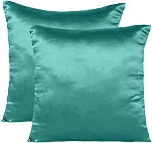 Soft and Comfortable Silky Satin Silk Pillowcase Pillow Case Cover for Hair & Skin Home Decor (Cushion Cover Teal, 12 x 12)