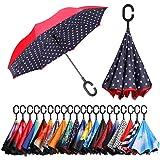 Eono by Amazon - Paraguas Invertido de Doble Capa, Paraguas Plegable de Manos Libres Autoportante,Paraguas a Prueba de Viento