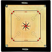 GSI Superior Matte Finish Club Carrom Board for Professionals Clubs with Coins Striker and Boric Powder, Beige (XX-Large 35 inch 8mm)
