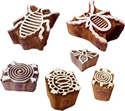 Textile Print Blocks Stylish Insect Bee Pattern Wooden Stamps (Set of 6)