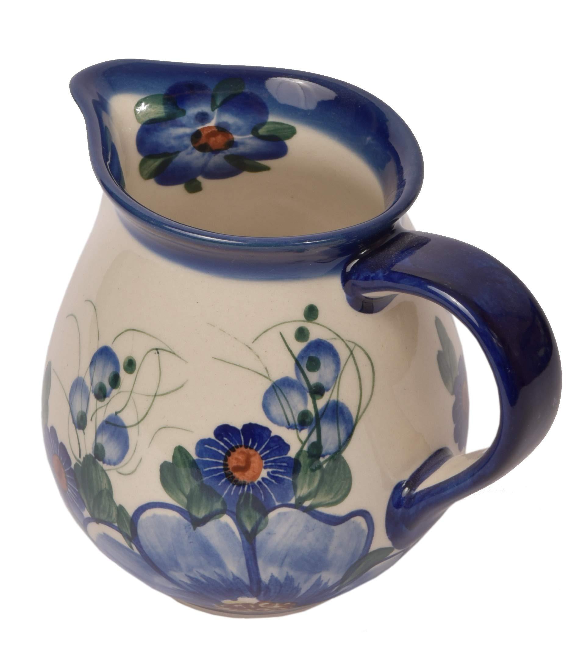 Traditional Polish Pottery, Handcrafted Ceramic Cream or Milk Jug 275ml, Boleslawiec Style Pattern, J.101.Passion
