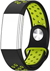 Shopizone® Soft Silicone Sport Replacement Fitness Accessory Strap Wristband for Fitbit Charge 2 (Black Yellow)
