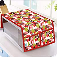 DECOTREE® Microwave Oven Top Cover Cotton with Utility 4 Pockets (Size : 14 X 36 Inches, Color : Red)