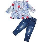 Conjuntos para Niña de Otoño Primavera Ropa para Niña 3 Piezas Camiseta Estampado FloralManga Larga Cuello Barco+ Pantalones