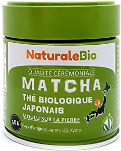 Thé Matcha Bio Japonais. Cérémonie Thé Vert Matcha en Poudre. Matcha Green Tea Produit au Japon Uji, Kyoto. Idéal à Boire, pour Cuisiner et dans le Lait. Boîtes de 30 g. NaturaleBio