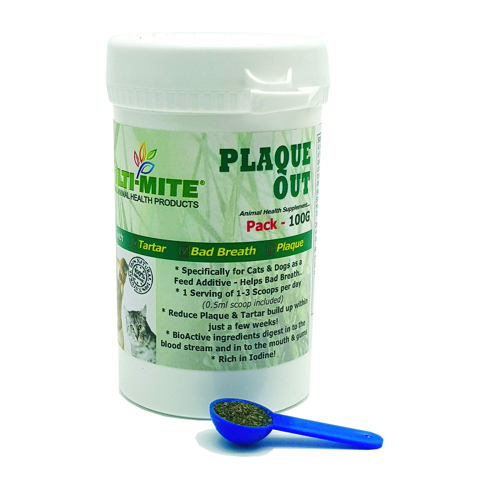 Plaque Out® – Dog & Cat Plaque Off & Tartar Removal 100g PACK – Multi-Mite®