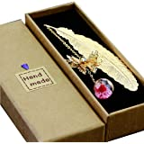 Toirxarn Segnalibro in piuma di metallo, con farfalla 3D e perle di vetro Ciondolo eterno fiore secco. per lettori, donne e b