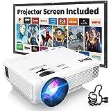 Proyector DR.Q con Pantalla de Proyección, 5000 Lúmenes Proyector de Video Soporta Full HD 1080P, Proyector Mini Compatible c