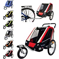 Leon Paplioshop folding bike trailer, buggy with front wheel, for 1or 2children, with 1 door, New Rosso