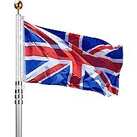 Voilamart 20ft Aluminium Sectional Flagpole Kit for Outdoor Garden Telescopic Flag Pole + UK Flag