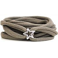 Armband Wickelarmband Stoff taupe dunkel oder Wunschfarbe 60 Varianten mit versilbertem Stern aus Metall individuelle…