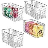 منظم تخزين الطعام ذو الأسلاك المعدنية من إم ديزاين ديكور مزرعة - سلة مع مقابض لخزائن المطبخ ، ملابس داخلية ، الحمام ، غرفة ال