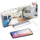 Réveil Projecteur Plafond, FM Radio Réveil Numérique, Réveil Matin avec Port de Chargement USB, Double Alarme, 4 Niveaux de L
