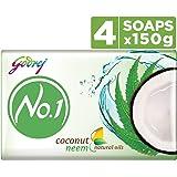 Godrej No.1 Soap, Coconut and Neem, 150g (Buy 3 Get 1 Free)