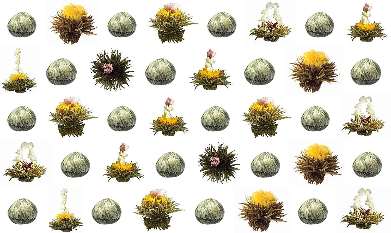 40-Stck-Sonderangebot-grner-Tee-Teeblumen-Teerosen-Teeblten-blooming-tea-Erblhtee-Aufblhtee-aus-hochwertigem-Grntee-mit-natrlichen-eingearbeiteten-Blten-by-Feelino