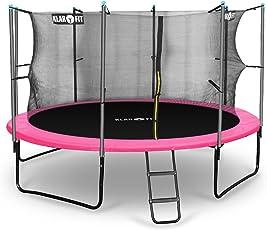 Klarfit Rocket Serie • Gartentrampolin • Kindertrampolin • Outdoor Trampolin • Durchmesser: 250, 305, 366, 400, 430 cm • verschließbares Sicherheitsnetz • 150 kg max. Belastung • blau, rosa oder grün