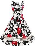 Bridesmay Robe Vintage Femme Années 50 Audrey Hepburn Rockabilly Swing sans Manche